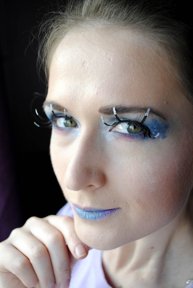 blue eyes and blue lips mistique makeup inspired x men