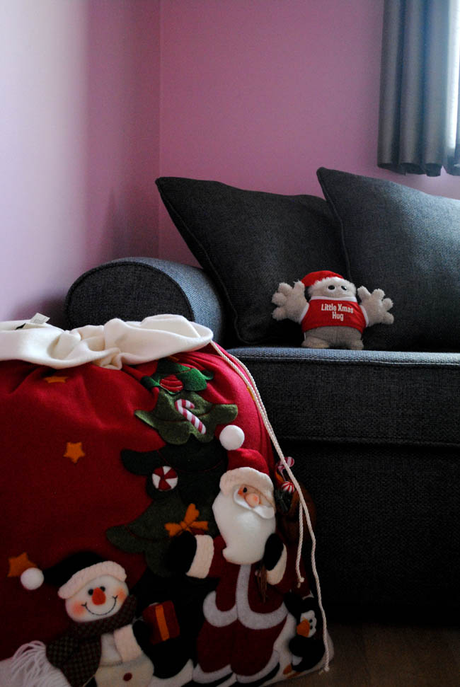 Santa sack and sofa bed for guests at home