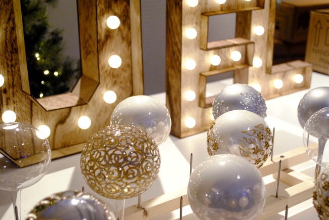 noel baubles in john lewis shop