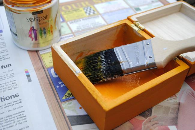painting orange box valspar