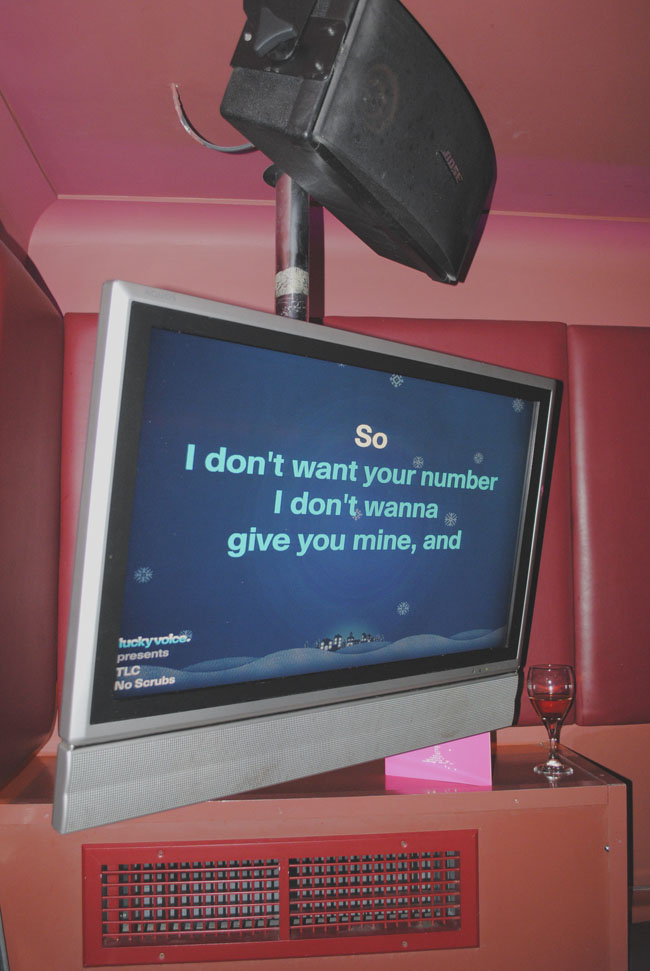 karaoke screen in lucky voice soho london uk