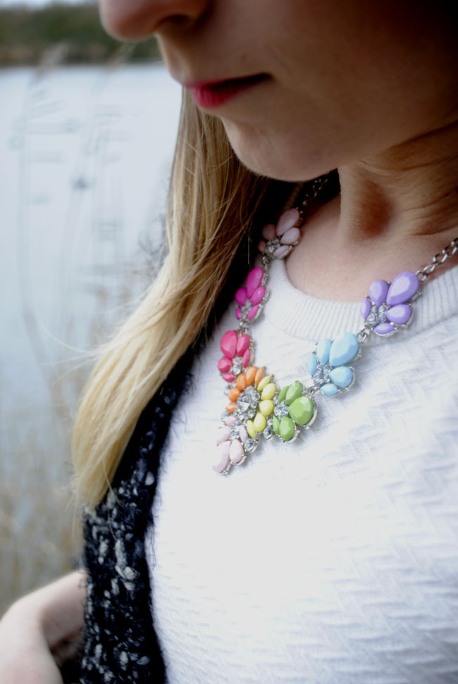 ombre colourful necklace on white jumper knitwear