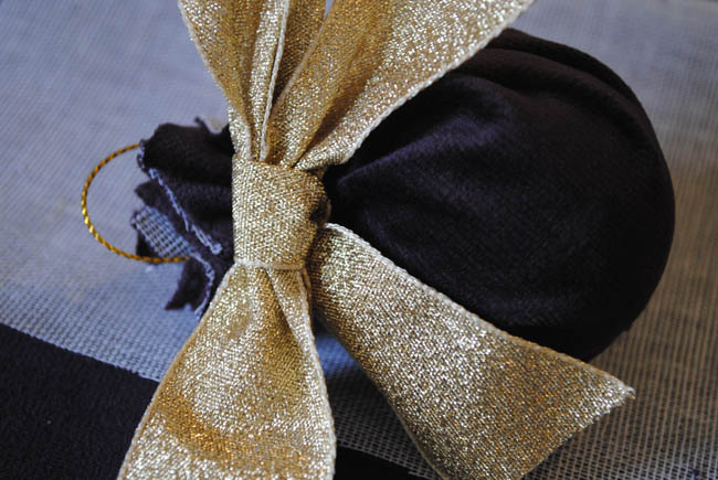 ribbon and bow on fabric bauble decoration