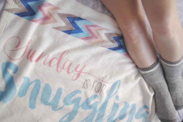 Sunday is for snuggling blanket valentines day bedroom idea
