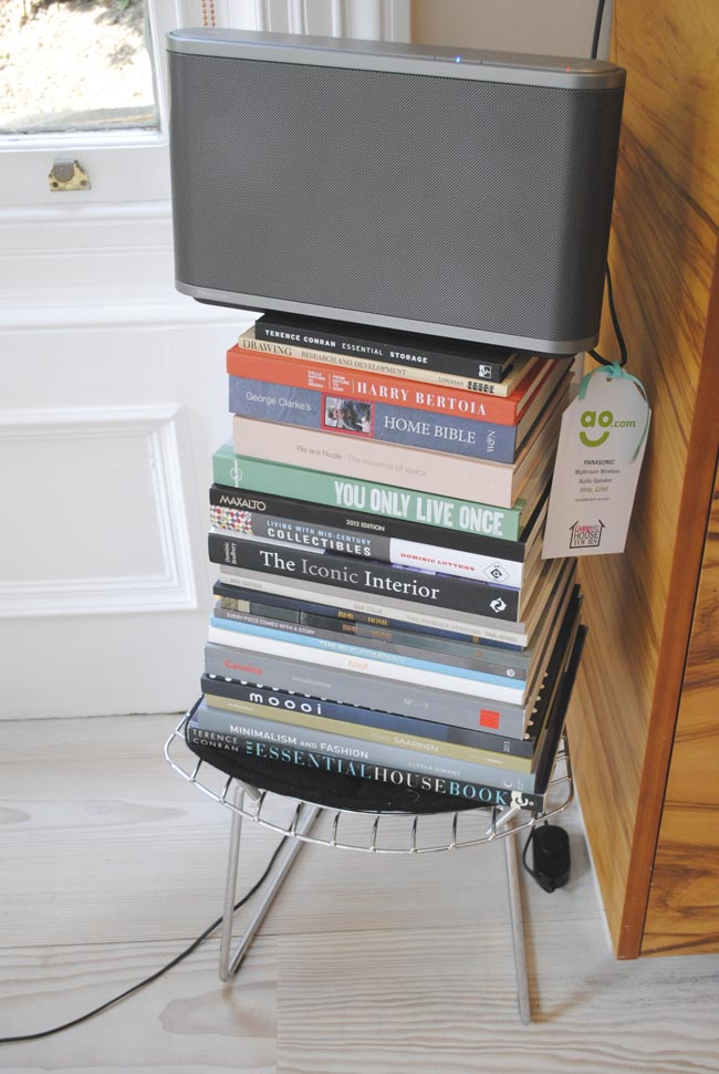 stack of books used as a stand