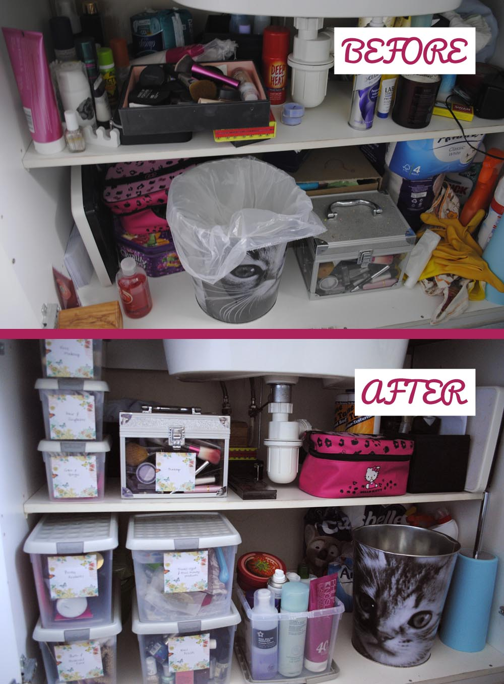 Before and After pictures of bathroom organisation storage boxes ideas