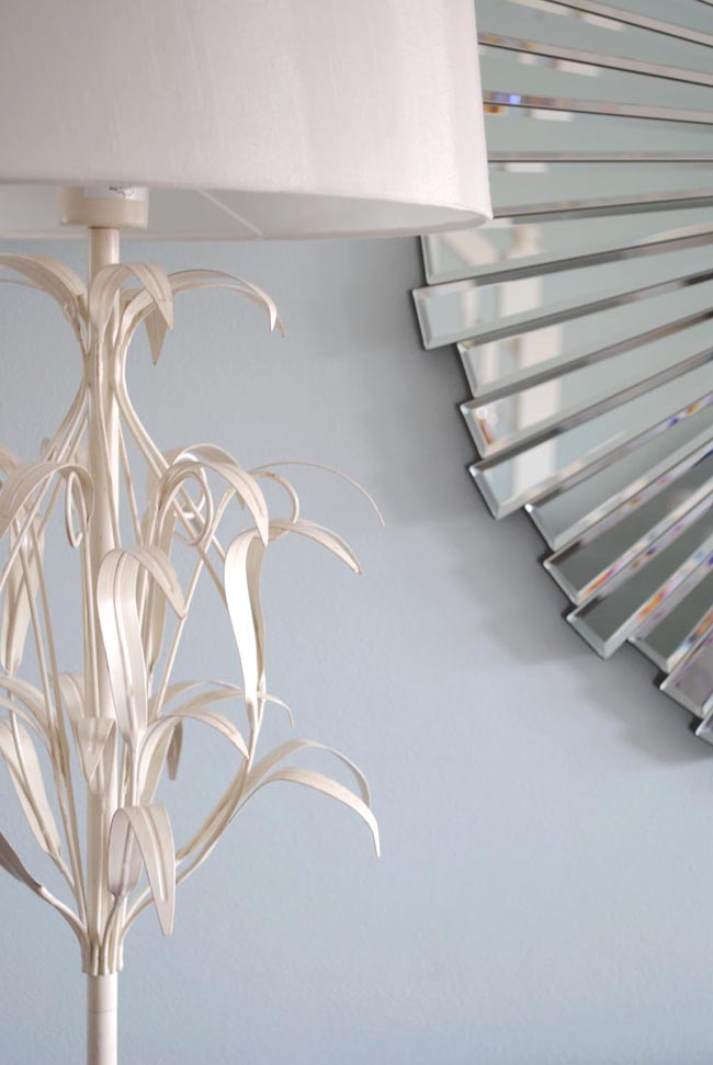 decorative floor lamp and geometric mirror from next