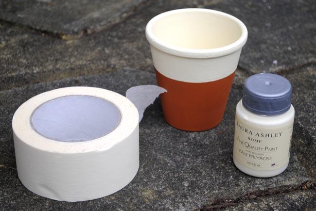 diy plant pot stripes laura ashley pastel paint