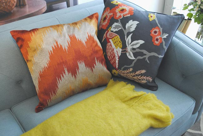 orange accent cushions pattern design for sofa citrus yellow