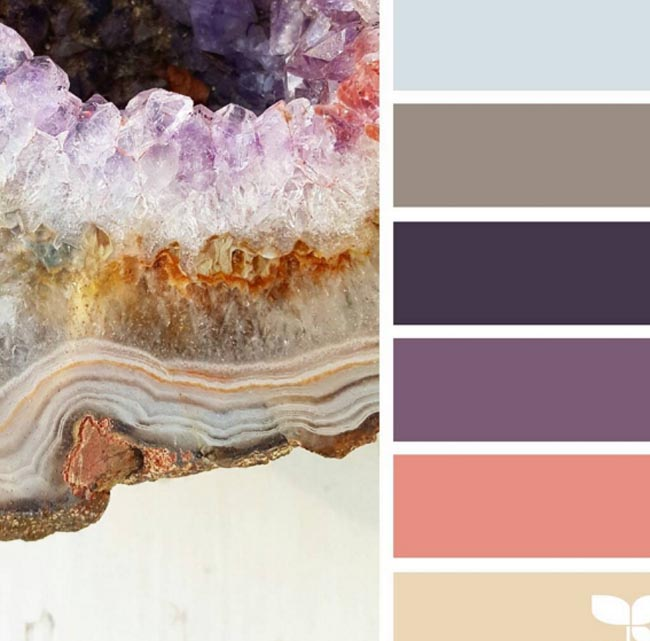 purple, pale blue and rose