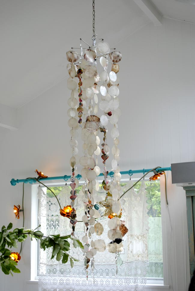 quirky lamp shade chandelier lounge and dining room shells
