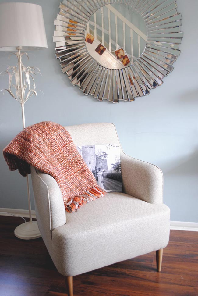 reading corner ideas with cosy throw and wedding album