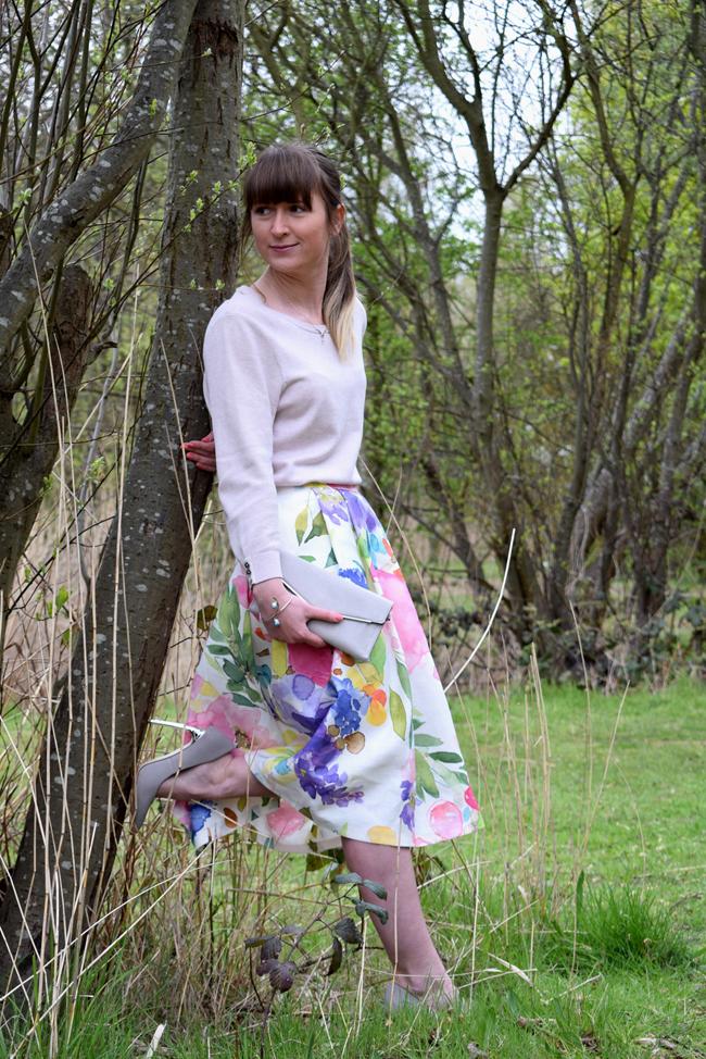 bluebellgray fabric floral midi skirt tutorial