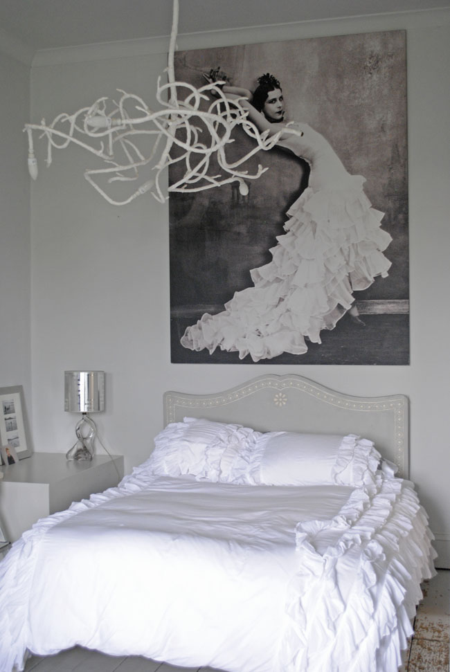 all white bedroom idea lady in dress picture