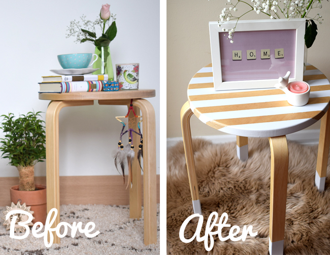 before and after upcycling wooden table DIY