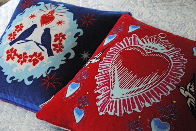 birds blue and red cushions home furnishings