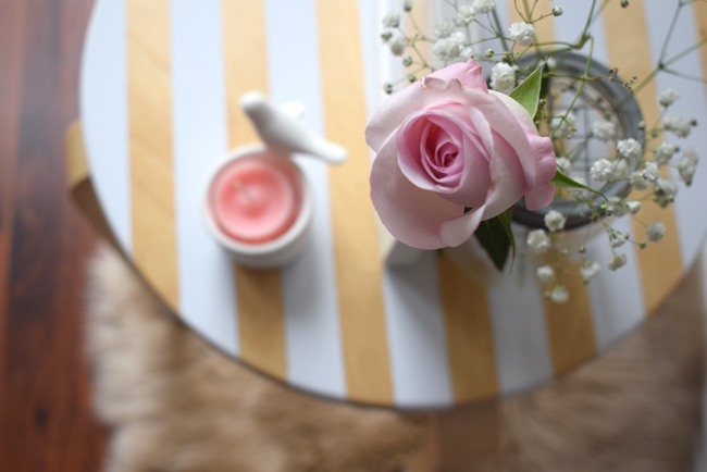 pink rose and stripy table modern interiors