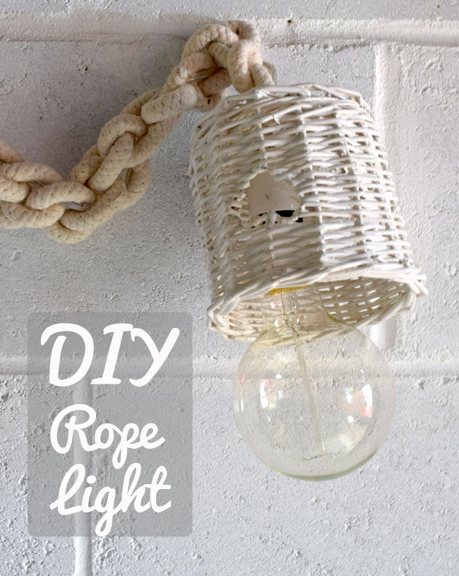 DIY coastal beach rope light lamp