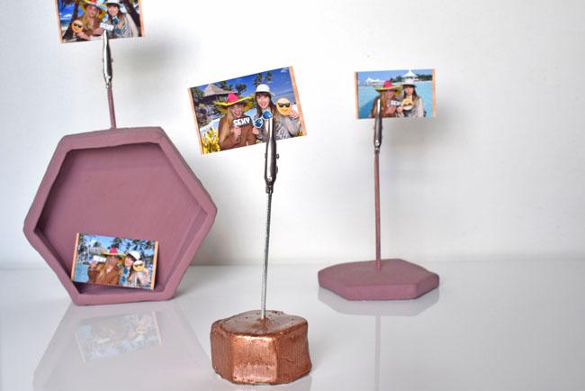 DIY hexagon photo holders