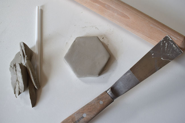 air drying clay roll out and slice