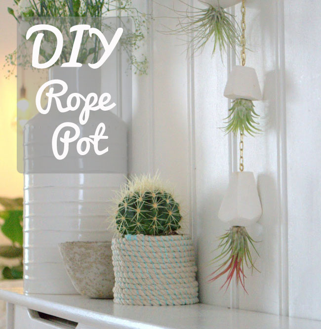 diy rope plant pot basket idea