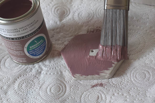 painting hexagon clay photo holder diy