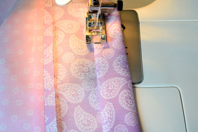 sew by folding twice the end for ribbon