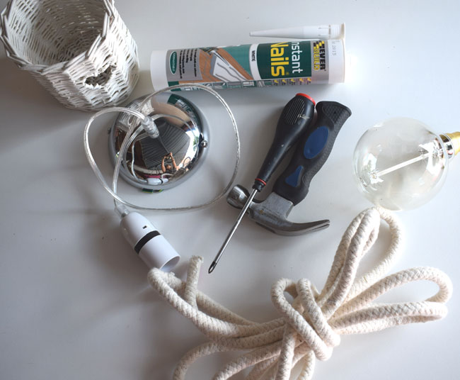 what you will need to make a diy rope rustic light