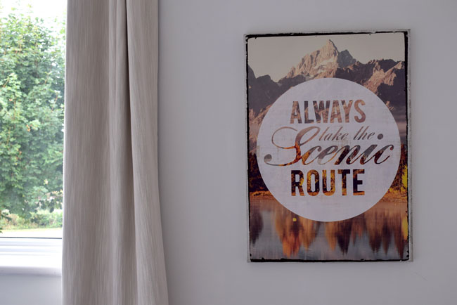 always take the scenic route quote wall art