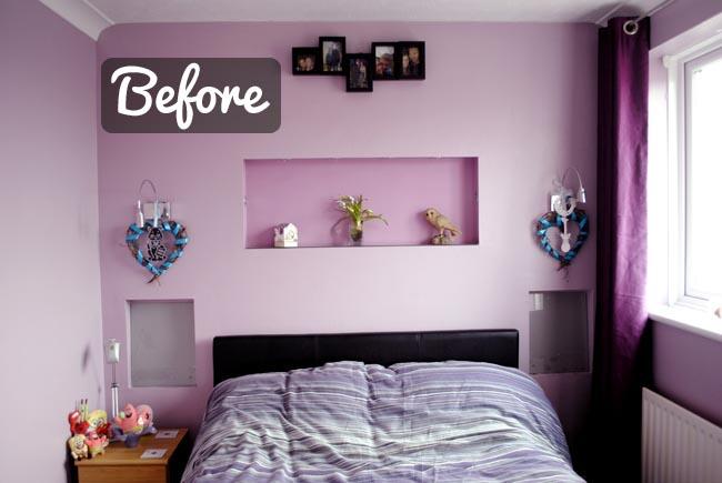 before photos of purple bedroom