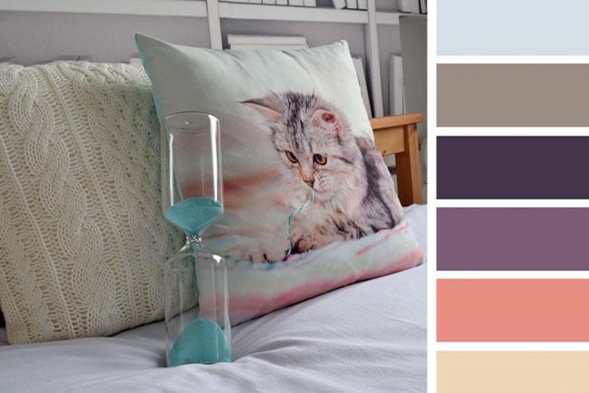 cute kitty cat cushion with colour scheme