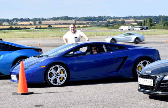 dad driving experience in blue lamborghini