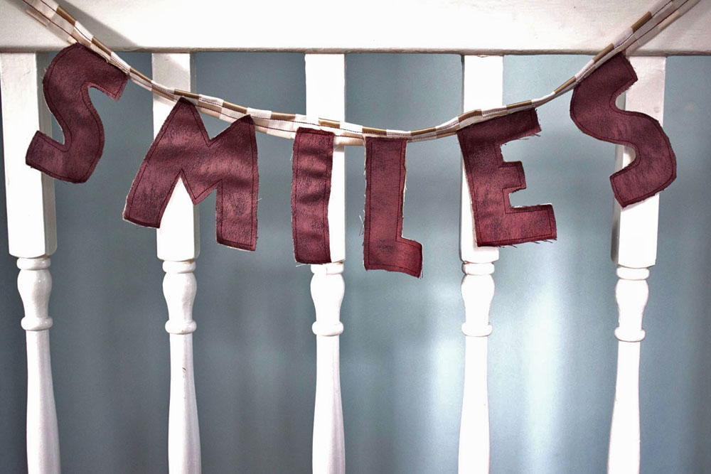 DIY bunting smiles lettering personalised gift