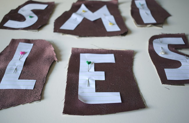 pin letters to material