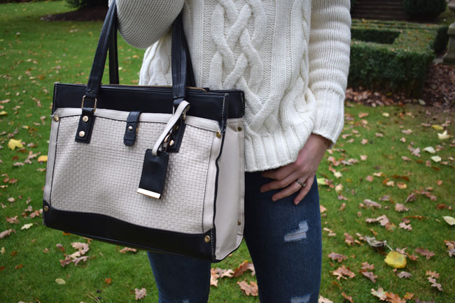 monochrome-bag-ripped-jeans-knitted-jumper